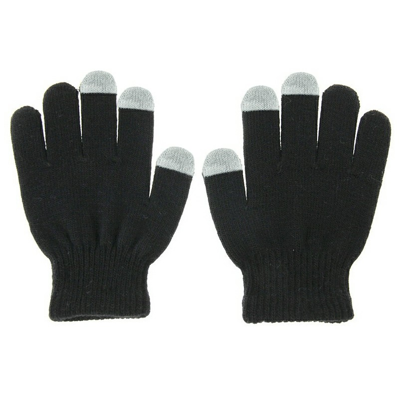Women Touch Screen Smart Gloves Texting Capacitive for Phone Tablet - Black