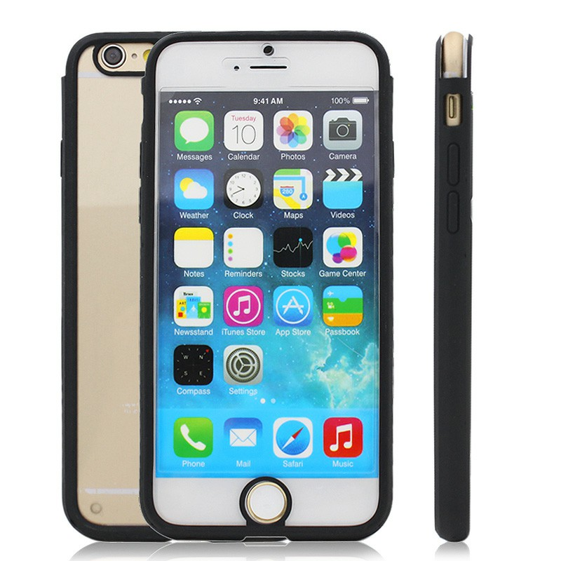 "Clear Front and Back Silicone TPU Bumper Case Pouch for 4.7"" iPhone 6- Black"