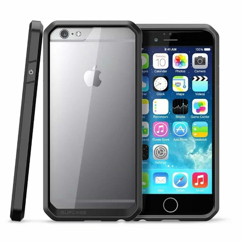 Scratch Resistant TPU PC Transparent Case Bumper Skin for iPhone 6 4.7 - Black