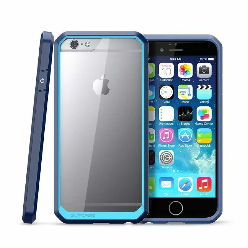Scratch Resistant TPU PC Transparent Case Bumper Skin for iPhone 6 4.7 - Blue