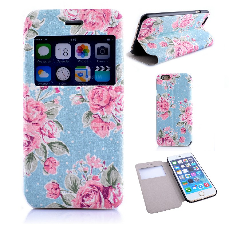 Fashion Blossom Flower PU Leather Stand Case Cover for iPhone 6 4.7 - Blue