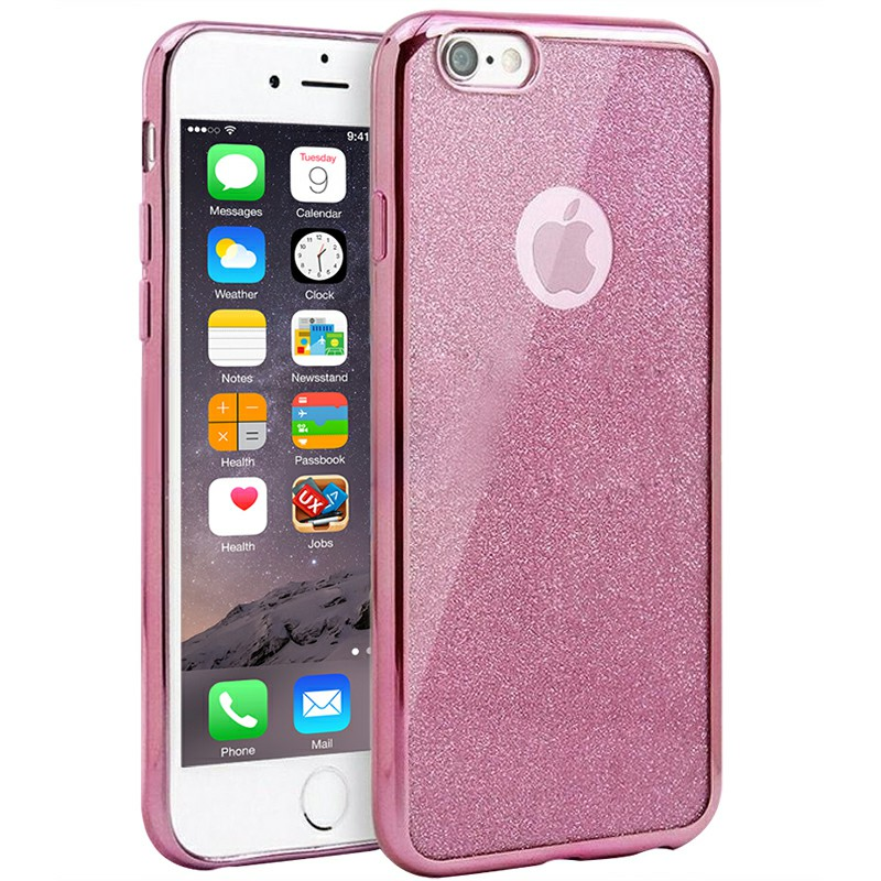 Fashion Bling Silicone Glitter Shockproof Case Cover for iPhone 7 - Pink