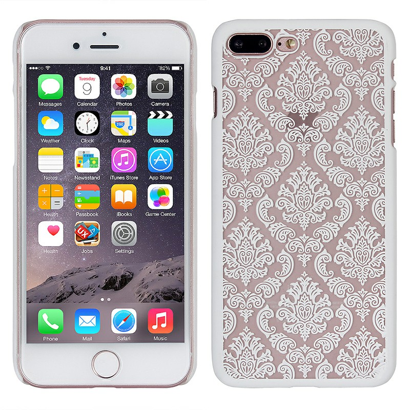Fashion Transparent Palace Flower PC Cover Phone Case for iPhone7/8 Plus - White