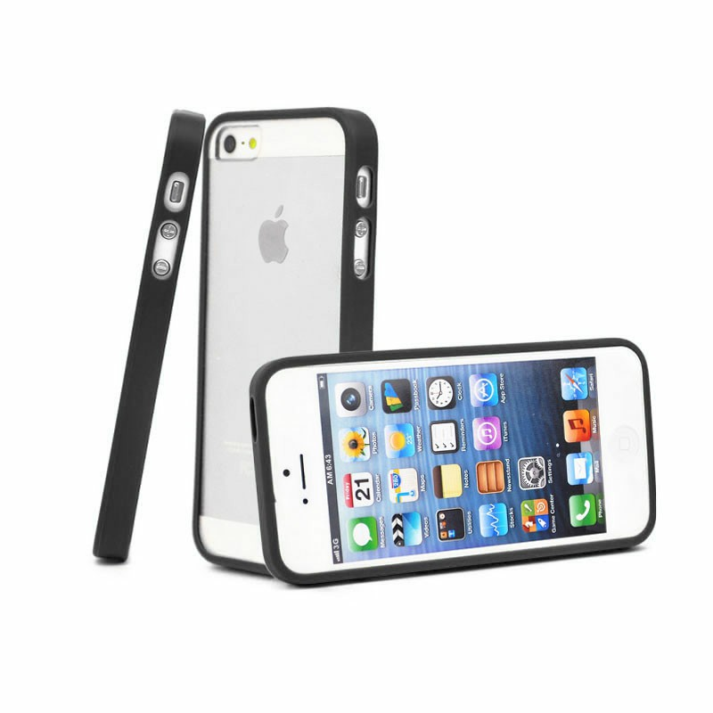 TPU Edge + PC Hard Back Case Cover for iPhone 5C - Black