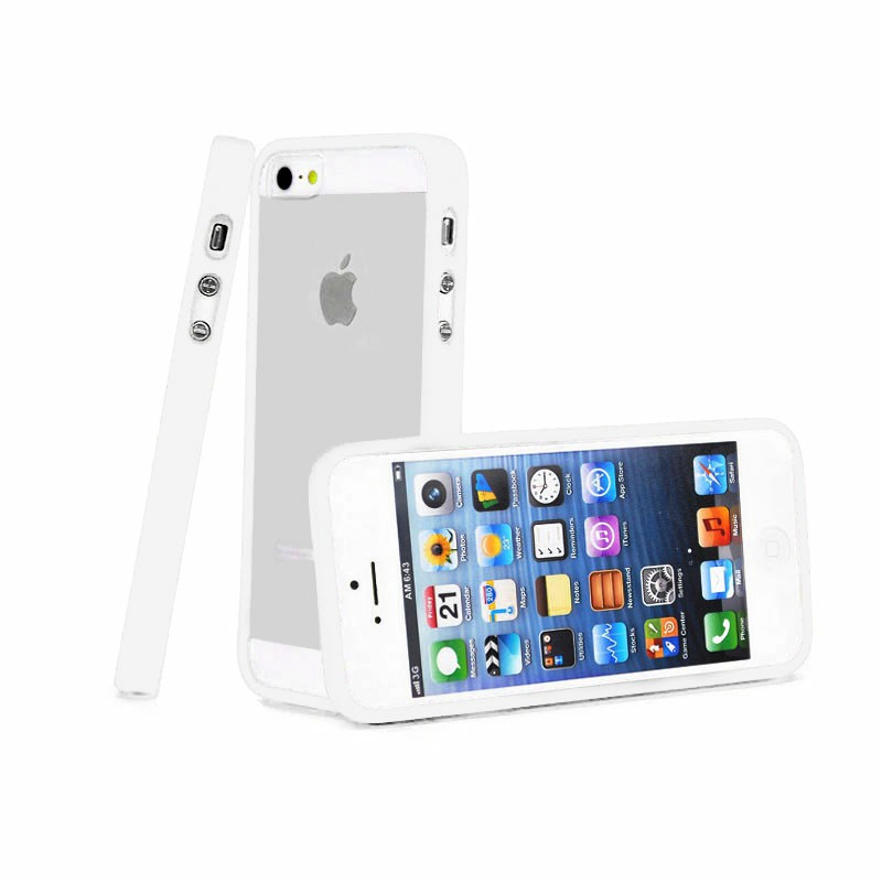 TPU Edge + PC Hard Back Case Cover for iPhone 5C - White
