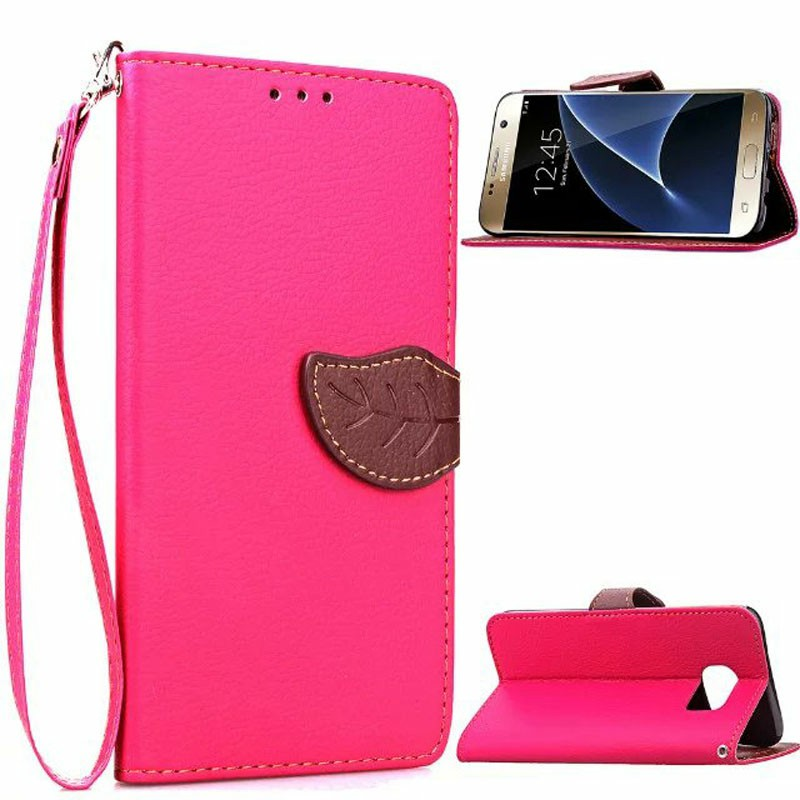 Leaf Clasp Magnetic Stand Flip Leather Case Cover for Samsung Galaxy S7 Edge - Rose Red
