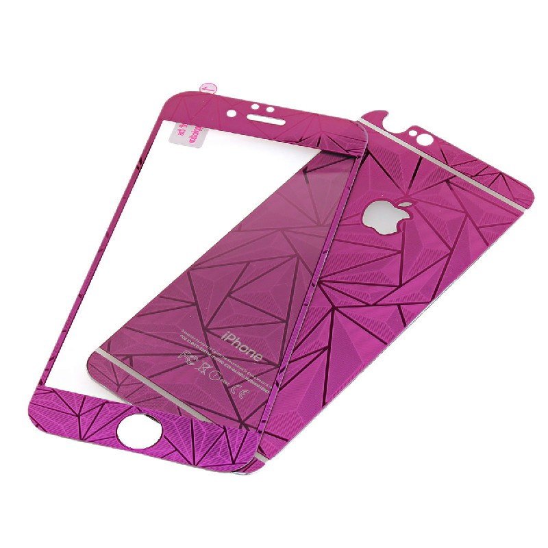 Front + Back Tempered Glass 3D Diamond Effect Screen Protector for iPhone 6 4.7 inch - Purple