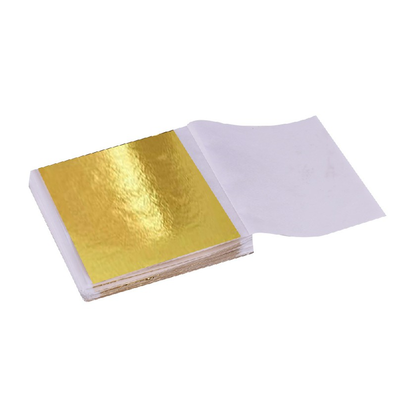 100 PCS Gilding Foil Sheets DIY Food Cake Gold Silver Copper Leaf Paper Decor - Gold