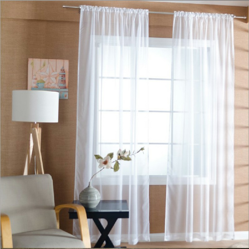 One Pair Sheer Slot Top Plain Voile Net Curtain Panels 140x137cm - White