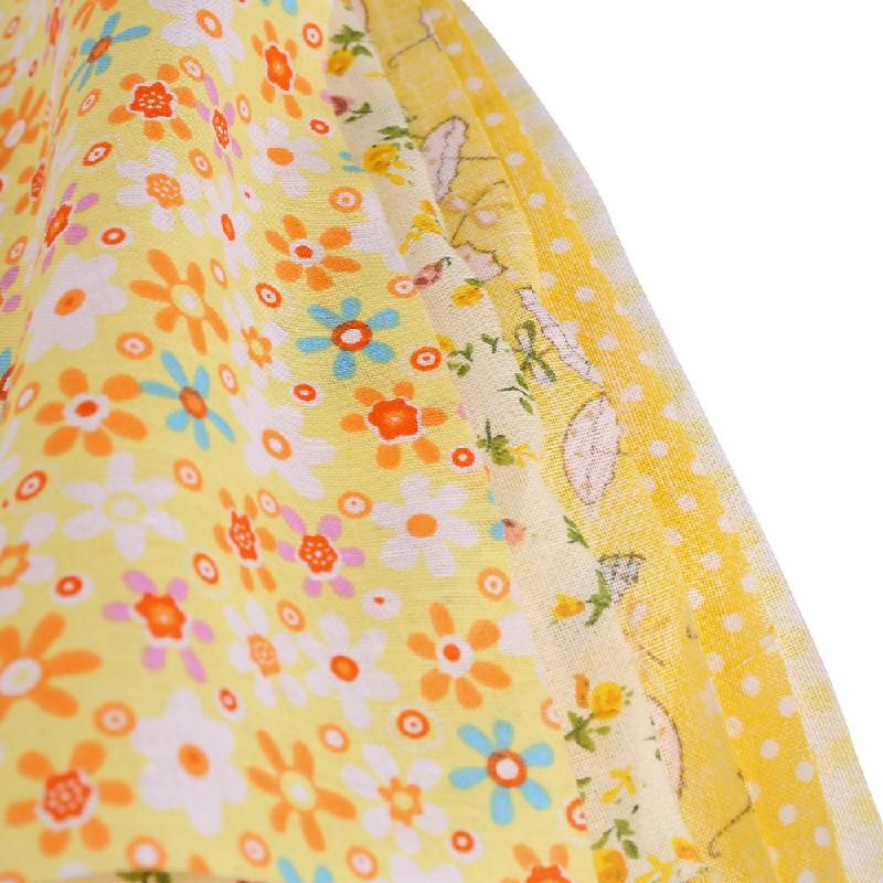 5pcs 50x50cm Cotton Fabric Assorted Pre-Cut Fat Quarters Bundle DIY Decor - Yellow