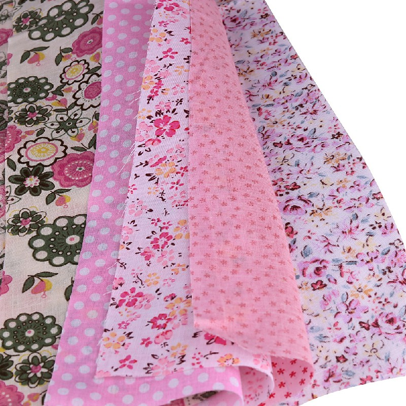 5pcs 50x50cm Cotton Fabric Assorted Pre-Cut Fat Quarters Bundle DIY Decor - Pink