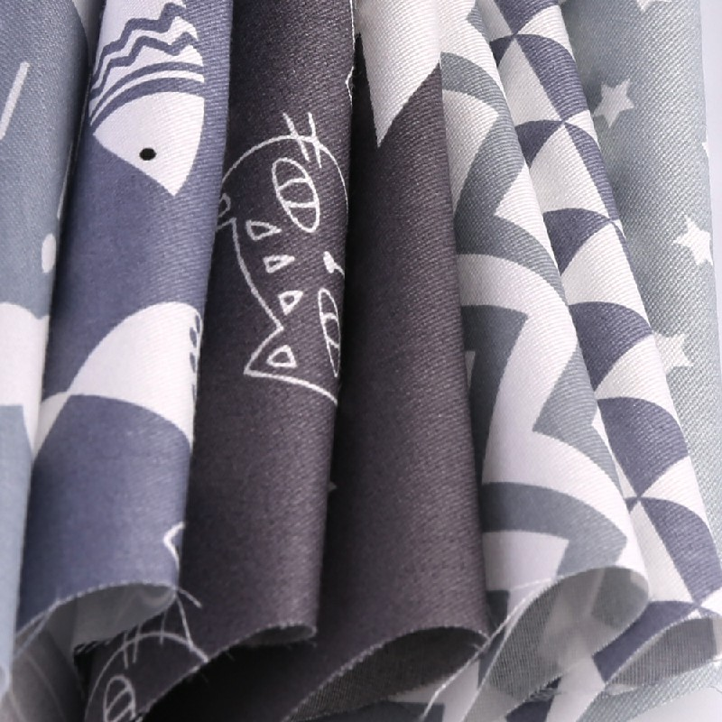 DIY 7PCS Bundles Fabric Fat Quarters Cotton Floral Dress Craft Quilt Sewing - Grey