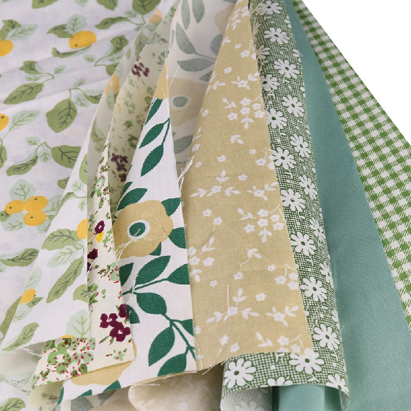 DIY 7PCS Bundles Fabric Fat Quarters Cotton Floral Dress Craft Quilt Sewing 50 x 50cm - Green