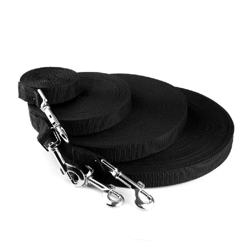 Dog Training Lead Strong Rope Webbing Halter Control Leash Recall 10M x 2cm - Black