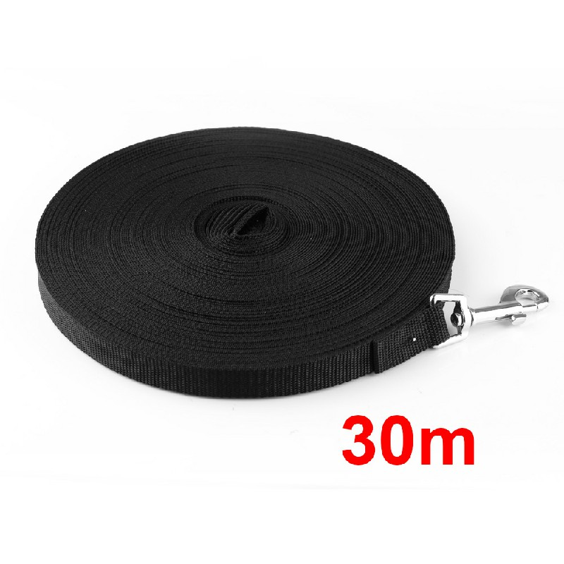 Dog Training Lead Strong Rope Webbing Halter Control Leash Recall 3M x 2cm - Black