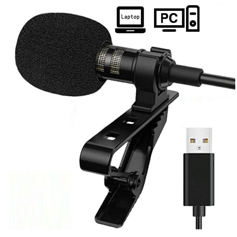 Clip-on Lapel Mini Lavalier USB Mic Microphone for PC Recording