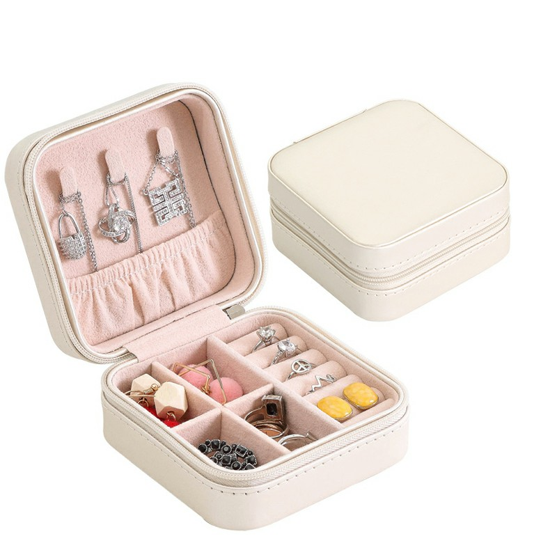PU Single Layer Simple Storage Jewelry Box Earrings Rings Leather Jewelry Box - White