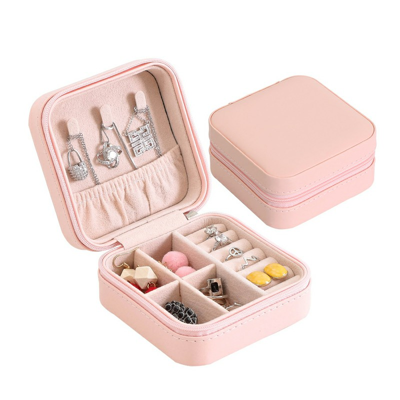 PU Single Layer Simple Storage Jewelry Box Earrings Rings Leather Jewelry Box - Pink