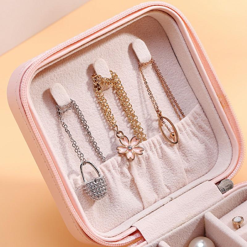 PU Single Layer Simple Storage Jewelry Box Earrings Rings Leather Jewelry Box - Pink