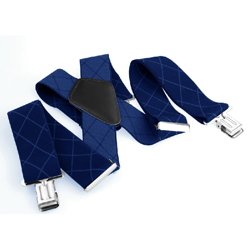 50mm Wide Diamond-shaped Dark Grain Trouser Braces Suspenders Adjustable Unisex Trousers Suspander - Blue