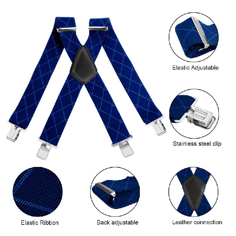 50mm Wide Diamond-shaped Dark Grain Trouser Braces Suspenders Adjustable Unisex Trousers Suspander