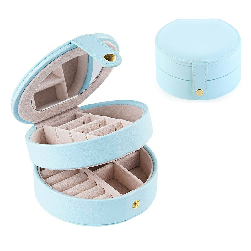 Round Jewelry Boxes Portable PU Leather Case 2 Layers Storage Organizer for Travel Home - Light Blue