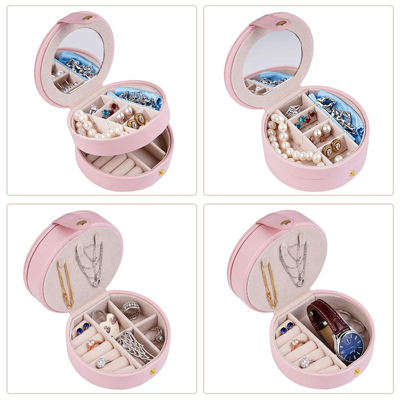 Round Jewelry Boxes Portable PU Leather Case 2 Layers Storage Organizer for Travel Home - Pink