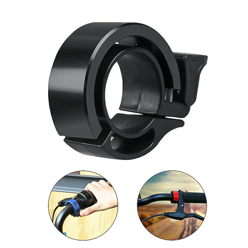 Bicycle Bell Aluminum Alloy Bike Alarm Handlebar Cycling Ring Loud - Black