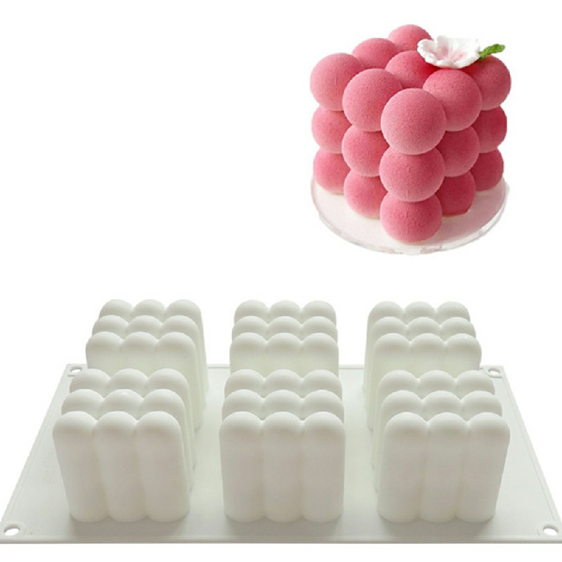 3D Cube Candle Plaster Mould 6 Cavities Silicone Square Bubble Dessert Mold.