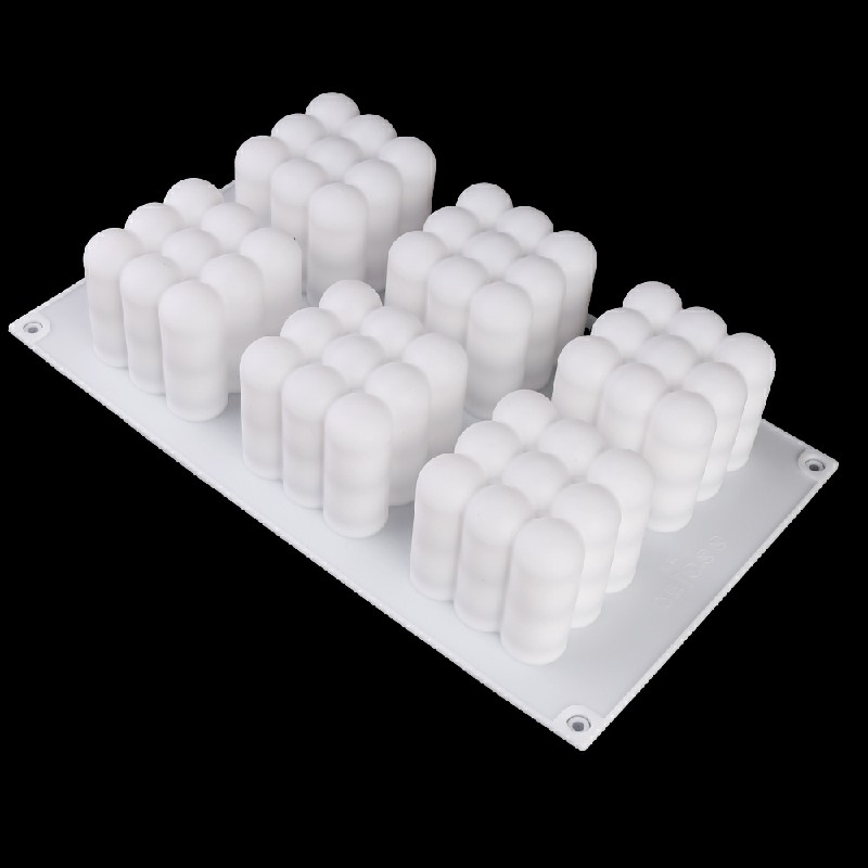 3D Cube Candle Plaster Mould 6 Cavities Silicone Square Bubble Dessert Mold