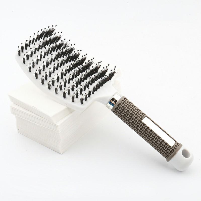 Natural Boar Bristle Detangling Nylon Brush Large Curved Curly Hair Styler - White