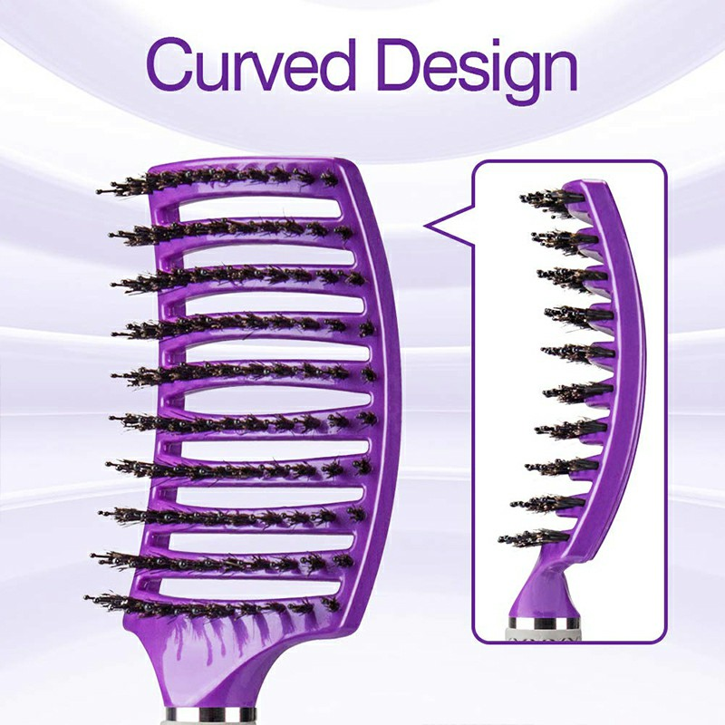 Natural Boar Bristle Detangling Nylon Brush Large Curved Curly Hair Styler - Purple