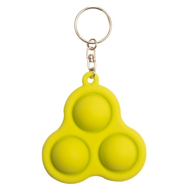 Triangle Press Bubble Fun Mini Pressure Relief Fingertip Silicone Finger Practice Keychain - Green