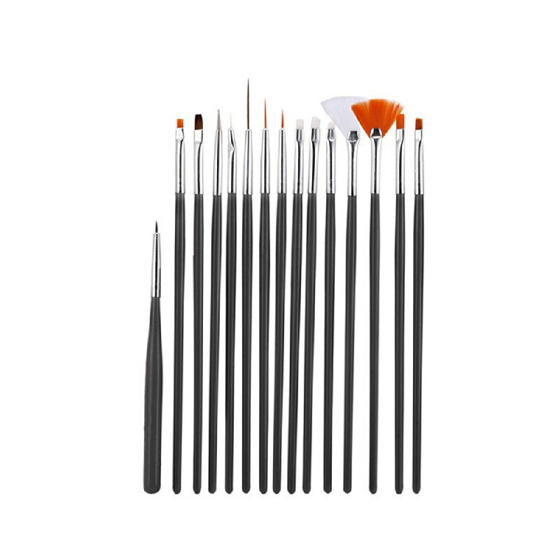 15 pcs Artist Painting Brushes Set Acrylic Oil Watercolour Painting Craft Art - Black
