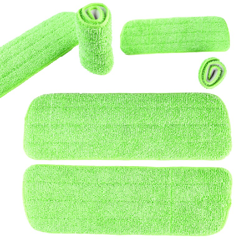 3 pcs Microfibre Replacement Spray Mop Refill Heads Wet Dry Cleaning Washable Pads - Green