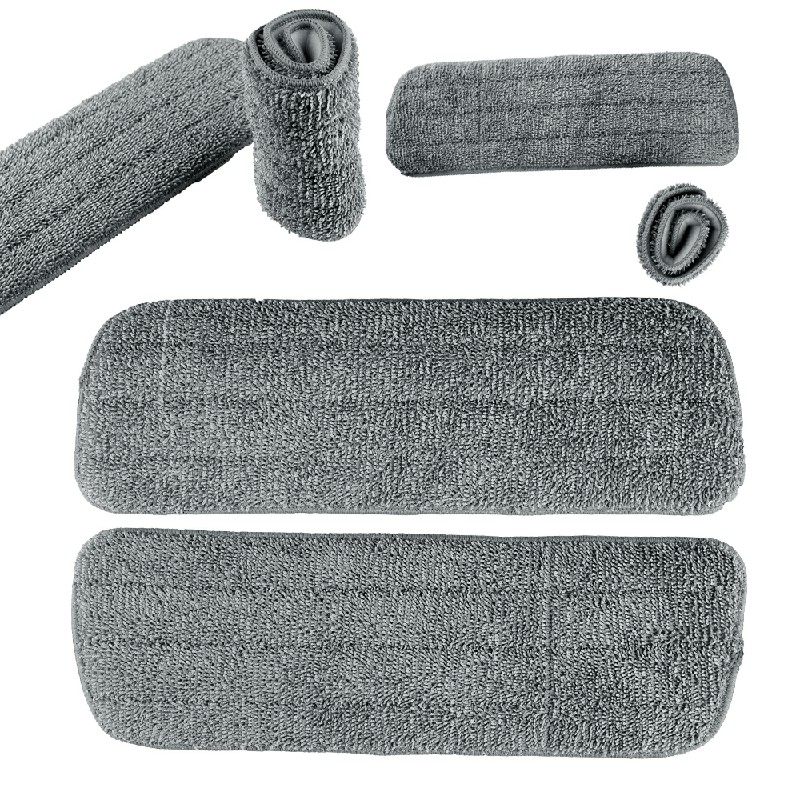 3 pcs Microfibre Replacement Spray Mop Refill Heads Wet Dry Cleaning Washable Pads - Grey