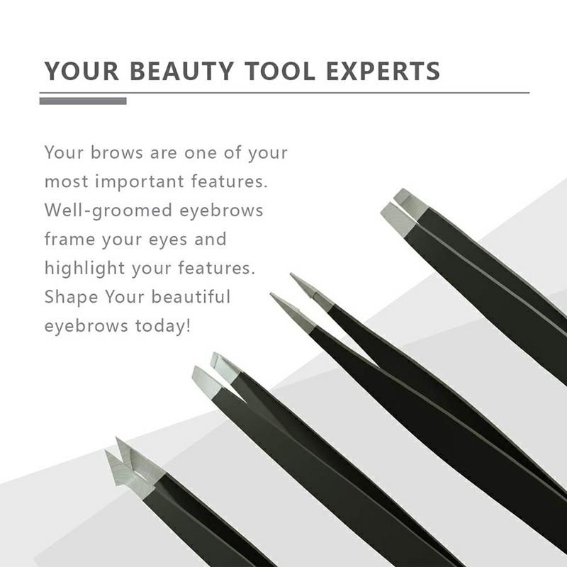 4 pcs Tweezer Set for Ingrown Hair Removal - Black