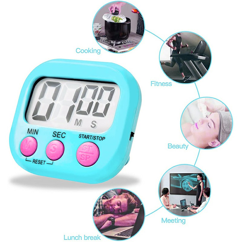 Digital Kitchen Timers with Loud Alarm for Cooking Baking Workout Sports Games - Blue