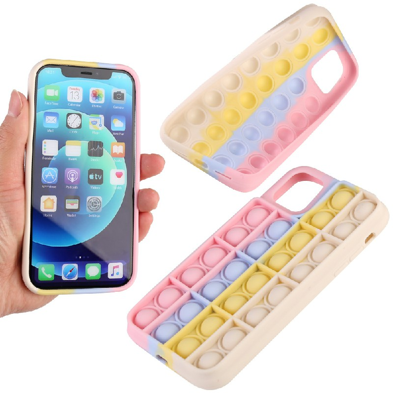 3D Fidget Rainbow Soft Silicone Case Restless Cover Back Case for iPhone 11