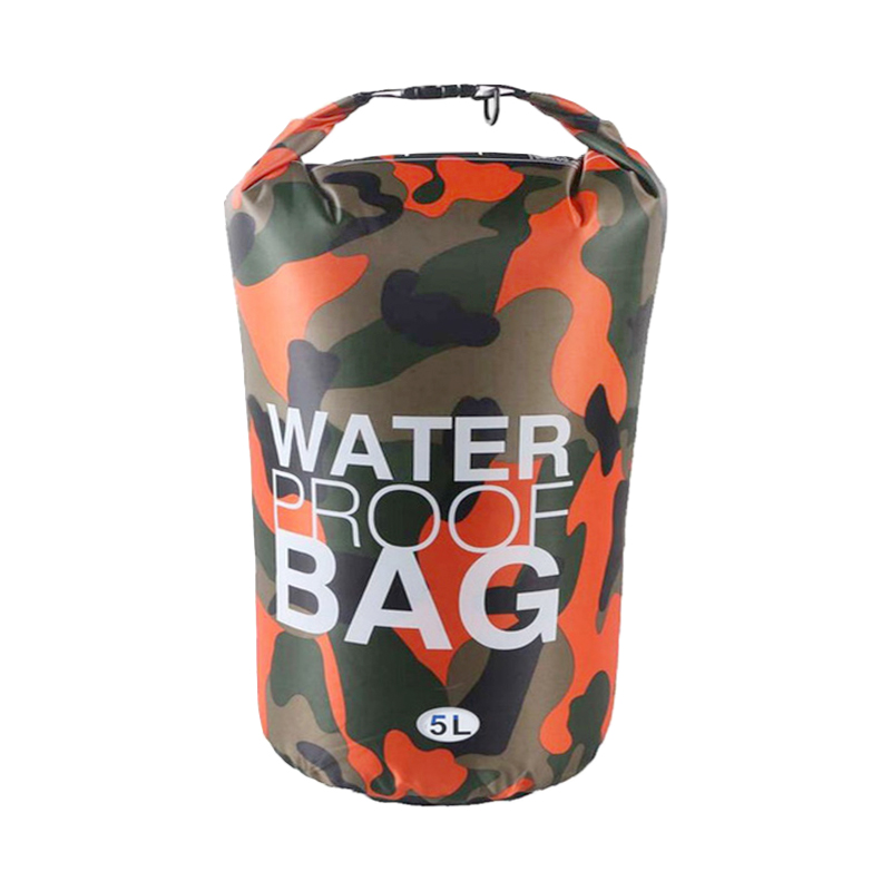 5L Waterproof Dry Bag Ultralight Camouflage Outdoor Pouch Organizer for Drifting Swimming Camping - Orange