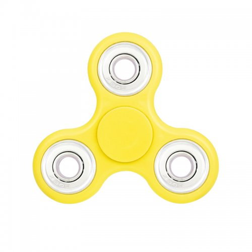 Fidget Hand Tri-Spinner EDC Finger Spin Toy for ADHD Autism - Yellow