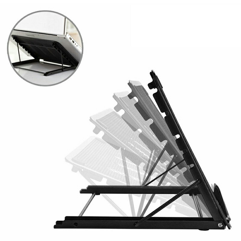Adjustable Laptop Stand Folding Portable Mesh Desktop iPad Holder Office Support - Black