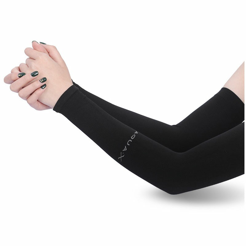 1 Pair Cooling Warmer UV Sun Protection Arm Sleeves Cover for Outdoor Sports - Black