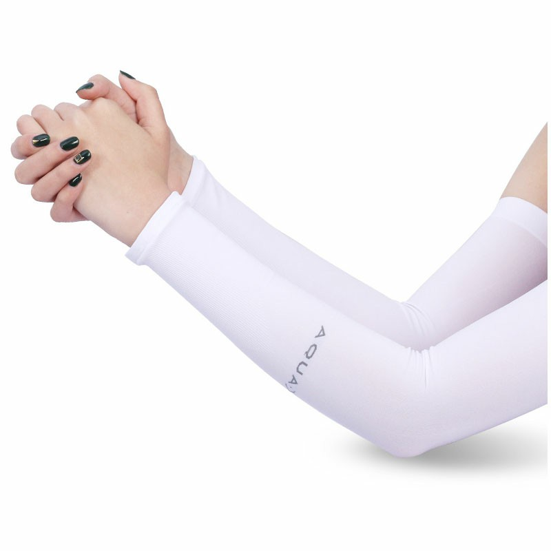 1 Pair Cooling Warmer UV Sun Protection Arm Sleeves Cover for Outdoor Sports - White