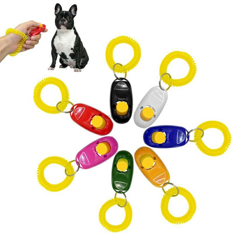 Dog Puppy Pet Clicker Keyring Teaching Tool Obedience Training Keyring Wrist UK - Green