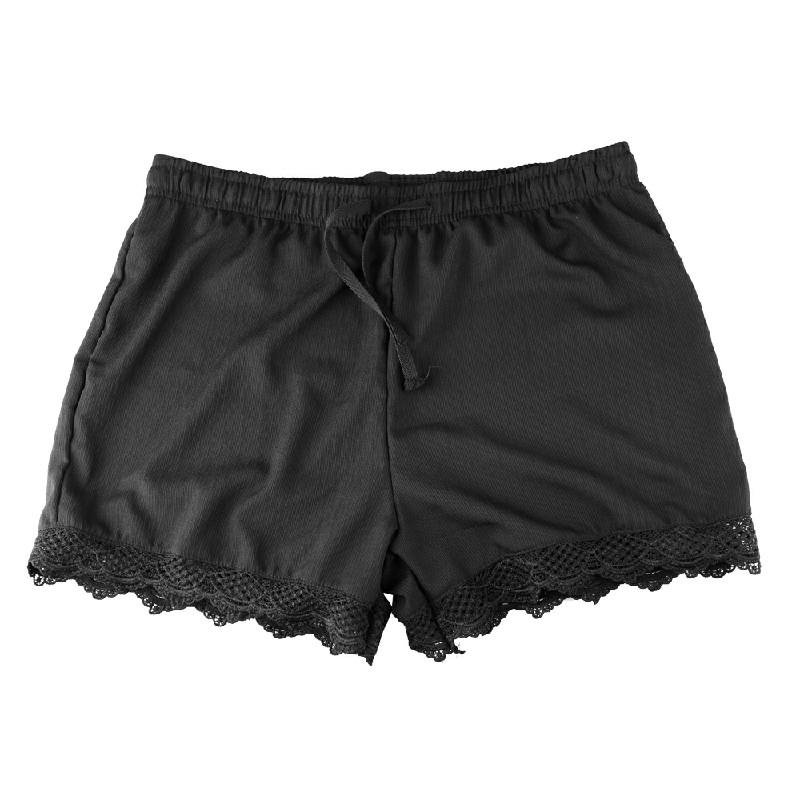 Womens Ladies Elastic Waist Drawstring Lace Hem Beach Shorts Pants Black - XL