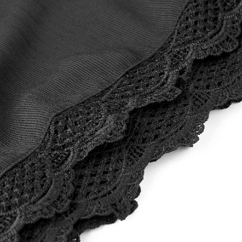 Womens Ladies Elastic Waist Drawstring Lace Hem Beach Shorts Pants Black - 3XL