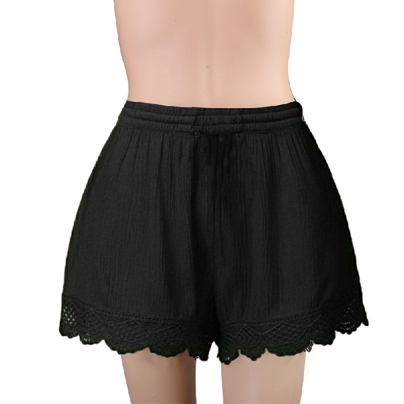 Womens Ladies Elastic Waist Drawstring Lace Hem Beach Shorts Pants Black - 5XL