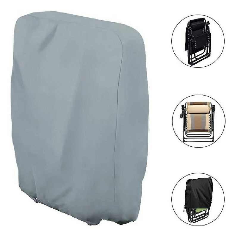 Garden Folding Chair Cover Reclining Sun Lounger Cover Waterproof UV Resistant - Grey.
