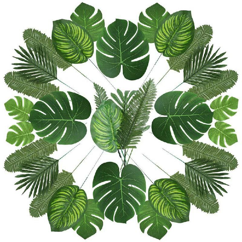 90 pcs Tropical Artificial Palm Leaves Hawaiian Luau Jungle Beach Theme Decor